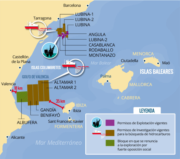 Exploration and exploitation of hydrocarbons in the region east-Balearic