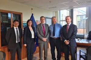 El Director General Karl Fakenberg, con los presidentes Vicent Serra y Jaume Ferrer, y los conseller Bartomeu Escandell y Pepa Costa. 28 oct 2013