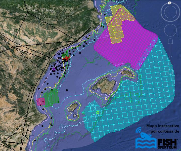 Mapa de prospecciones petrolíferas en el Mediterráneo