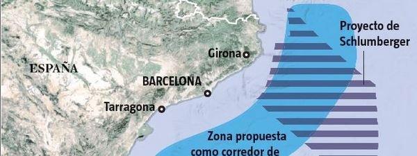 Gráfico de la zona de sondeo en busca de petróleo frente a la Costa Brava LVE