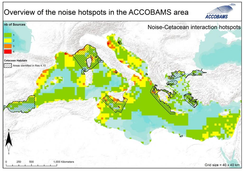 Noise-cetacean interaction hotspots: overlap of noise hotspots and important cetacean habitats.