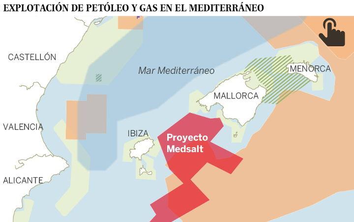 Mapa de las zonas de prospección para búsqueda de hidrocarburos y de las zonas protegidas